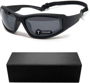 TERAISE Motorrad-Reitbrille-Sicherheits-Ski-Schutzbrillen justierbare UV400 schützende windundurchlässige staubdichte Anti-Nebel-Sonnenbrille für verschiedene Sportarten im Freien(Black)