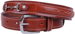 Equipride QHP Ledergürtel Ricki für Wettkampf mit Pferdegebiss schwarz/braun 65 bis 95 cm