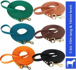 Longe Longierleine für Pferde 16mm aus Beta BioThane®, in 25 Farben, 5 bis 10 Meter lang, Pferdelonge für Reitsport